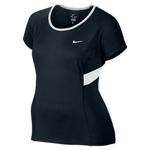 NIKE WOMENS EXTENDED POWER SS TOP BLACK