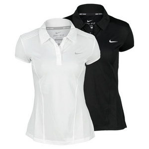 NIKE WOMENS PINTUCK SHORT SLEEVE TENNIS POLO