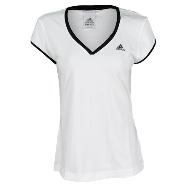 Women`s Tennis Sequencials Galaxy Cap Sleeve Top White/Black