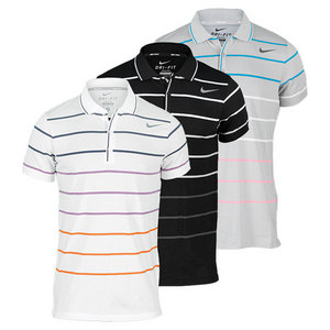 NIKE MEN`S DF COTTON STRIPE JERSEY TENNIS POL
