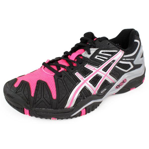 Women's Gel Resolution 5 Tennis Shoes Diva Black/Hot Pink/Silver