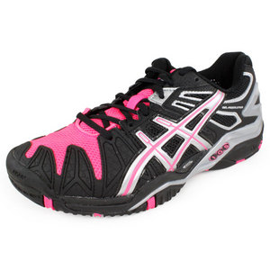 ASICS WOMENS GEL RESOLUTION 5 SHOES BK/HOT PK