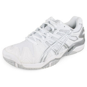 ASICS WOMENS GEL RESOLUTION 5 SHOES WHITE/SILV