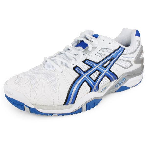 Men's Gel Resolution 5 Tennis Shoes White/Royal Blue/Lightning