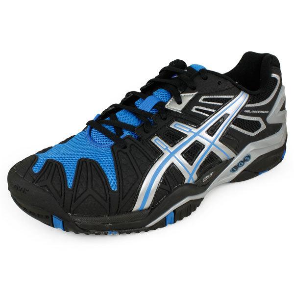 Men's Gel Resolution 5 Tennis Shoes Black/Silver/Blue Ribbon