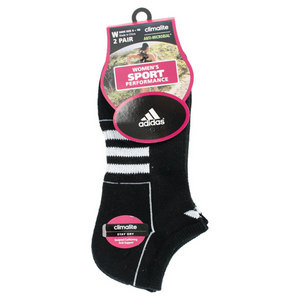 adidas WOMENS CLIMALITE II NO SHOW 2 PACK SOCKS