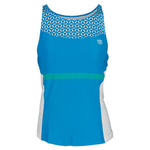 WILSON WOMENS SWEET SUCCESS TENNIS TANK CYAN/WH