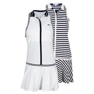 LACOSTE WOMENS SLEEVELESS PIQUE PLEATED DRESS