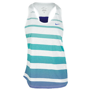 NIKE WOMENS DF COTTON STRIPE TANK FIBERGLASS
