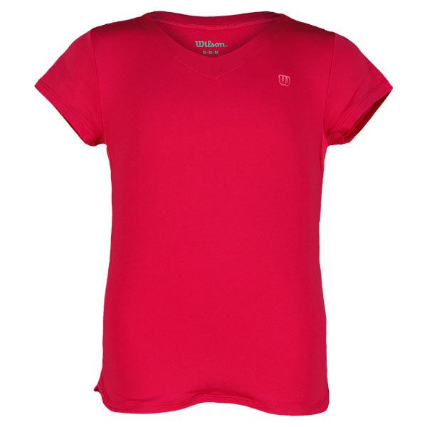 Girl's Short Sleeve V Neck Tennis Top Hottest Pink