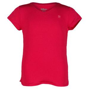 Girl`s Short Sleeve V Neck Tennis Top Hottest Pink