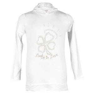 LUCKY IN LOVE GIRLS RHINESTONE TENNIS HOODIE WHITE