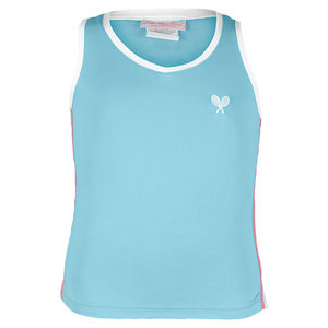 LITTLE MISS TENNIS GIRLS TENNIS TANK AQUA/PINK