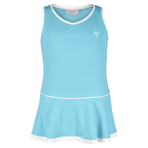 LITTLE MISS TENNIS GIRLS TENNIS DRESS AQUA/PINK/WHITE