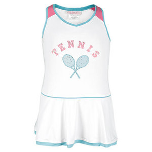 LITTLE MISS TENNIS GIRLS TENNIS DRESS WHITE/AQUA/PINK