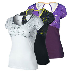 NIKE WOMENS PRINTED KNIT SS TENNIS TOP