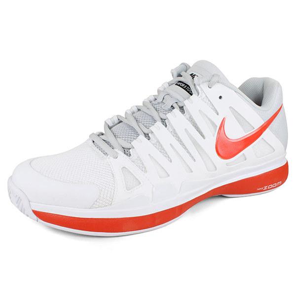 Men's Zoom Vapor 9 Tour Tennis Shoes White/Team Orange