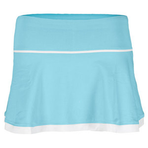 LITTLE MISS TENNIS GIRLS FLARED SKIRT W/BIKERS AQUA/WHITE