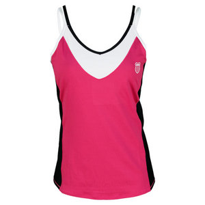 K-SWISS WOMENS STRAPPY V TENNIS TANK ROSE/BLACK