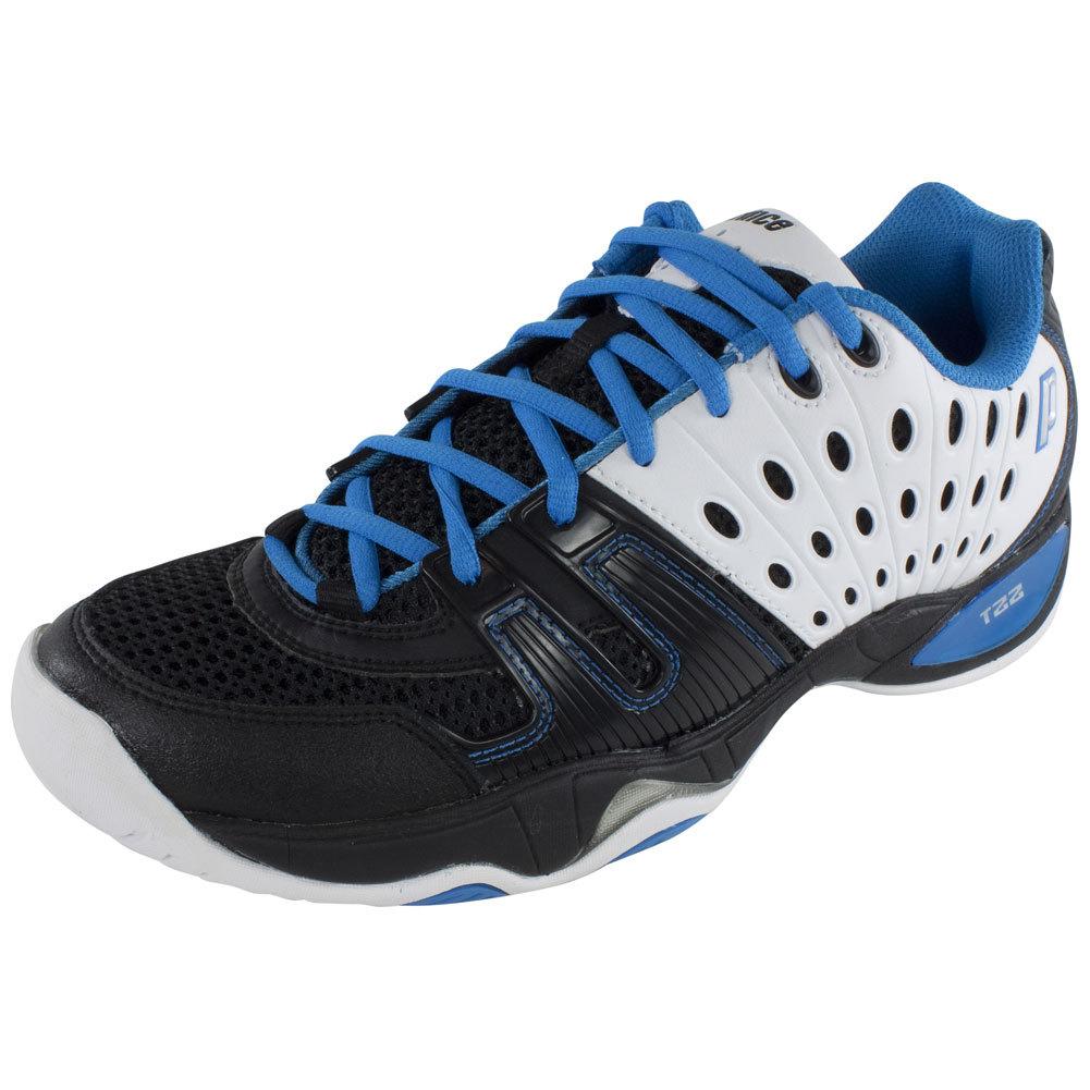 prince mens t22 tennis shoes black white blue