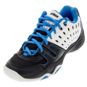 PRINCE JUNIORS T22 TENNIS SHOES WH/BK/BLUE
