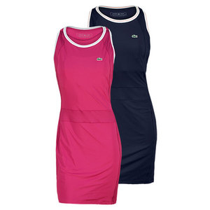 LACOSTE WOMENS SLEEVELESS JERSEY PLEATED DRESS