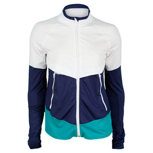 LUCKY IN LOVE WOMENS TRACK TENNIS JACKET NAVY