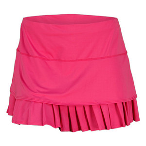 LUCKY IN LOVE WOMENS SOLID LAYERED PLEAT SKIRT PINK