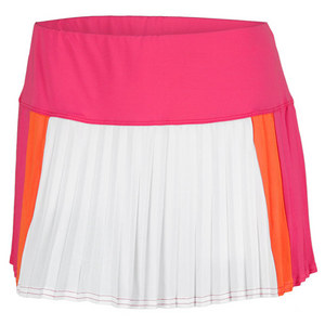 LUCKY IN LOVE WOMENS COLOR BLOCK PLEAT SKIRT PINK