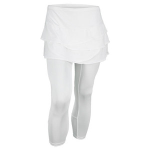 LUCKY IN LOVE WOMENS MESH SCALLOPED TENNIS CAPRI WHITE