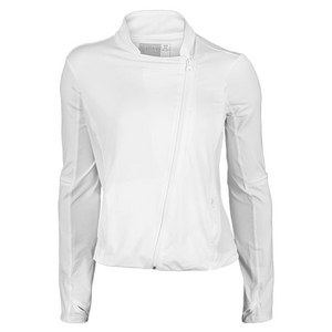 LUCKY IN LOVE WOMENS MOTO TENNIS JACKET WHITE