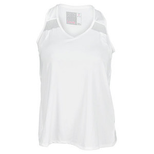 LUCKY IN LOVE WOMENS V NECK SWINGBACK TANK WHITE
