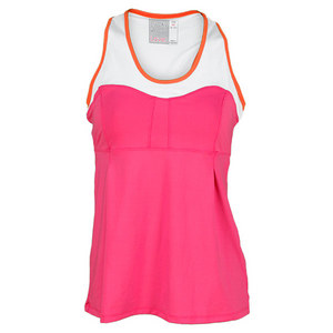 LUCKY IN LOVE WOMENS EMPIRE RACERBACK TANK PINK