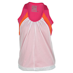 LUCKY IN LOVE WOMENS MESH LAYER RACERBACK TANK PINK