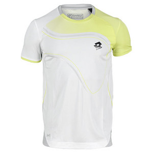 LOTTO MENS LED TENNIS TEE SHIRT WHT/LIZARD GRN