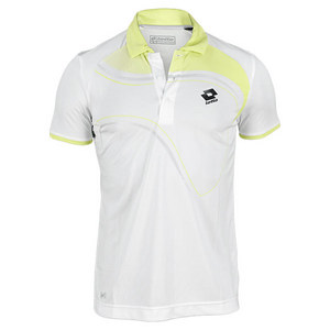LOTTO MENS LED TENNIS POLO WHITE/LIZARD GREEN