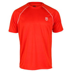 K-SWISS MENS CONTRAST RAGLAN CREW FIERY RED