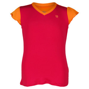 WILSON GIRLS SWEET SUCCESS TENNIS TOP PINK/ORAN
