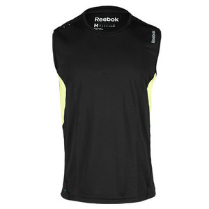 REEBOK MENS SE SLEEVELESS RUNNING TOP BK/GN