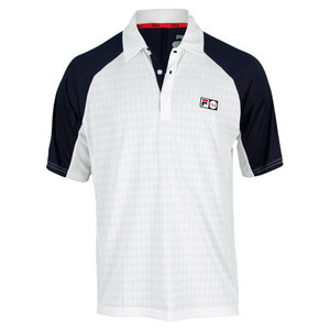 FILA MENS HERITAGE DIAMOND KNIT POLO WHITE