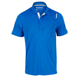 REEBOK MENS SE GRAPHIC SS TENNIS POLO BLUE