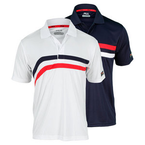 FILA MENS HERITAGE DOUBLE STRIPE TENNIS POLO
