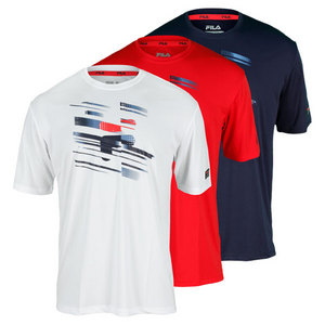 FILA MENS HERITAGE PRINTED CREW TENNIS TOP