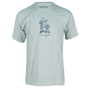 LIFE IS GOOD MENS JAKE BBQ CRUSHER TEE MISTY BLUE