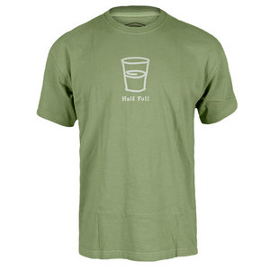 LIFE IS GOOD MENS HALF FULL CRUSHER TEE PALM GREEN