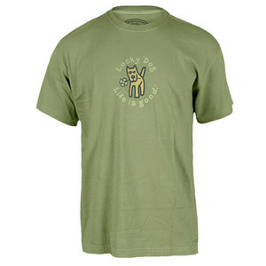 LIFE IS GOOD MENS LUCKY DOG ST. PATRICKS DAY TEE PALM