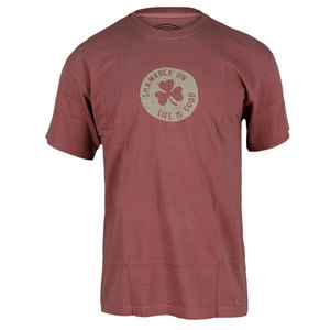 LIFE IS GOOD MENS SHAMROCK CRUSHER TEE DK BURGUNDY