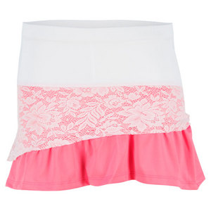 LUCKY IN LOVE GIRLS LACE RUFFLE SKORT WHITE/PINK