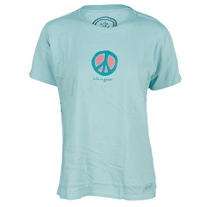 LIFE IS GOOD WOMENS ELEMENTAL PEACE TEE TIDE BLUE