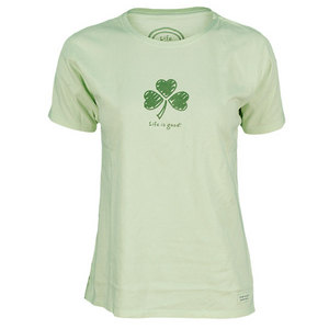LIFE IS GOOD WOMENS SHAMROCK HEARTS TEE CITRON GREEN